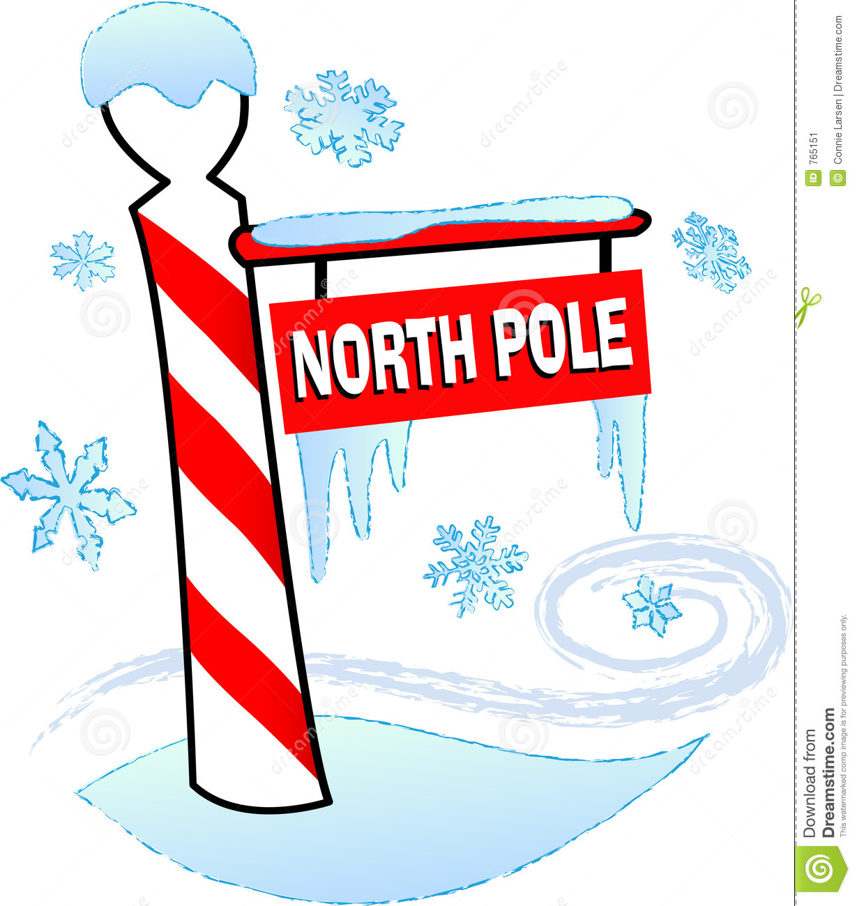 Illustration Of A North Pole Sign Surrounded By Snow And Ice