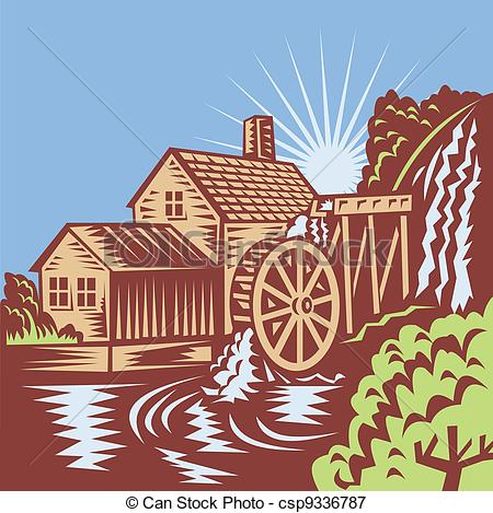 Illustration Of Water Wheel Mill House Retro   Illustration Of A Water