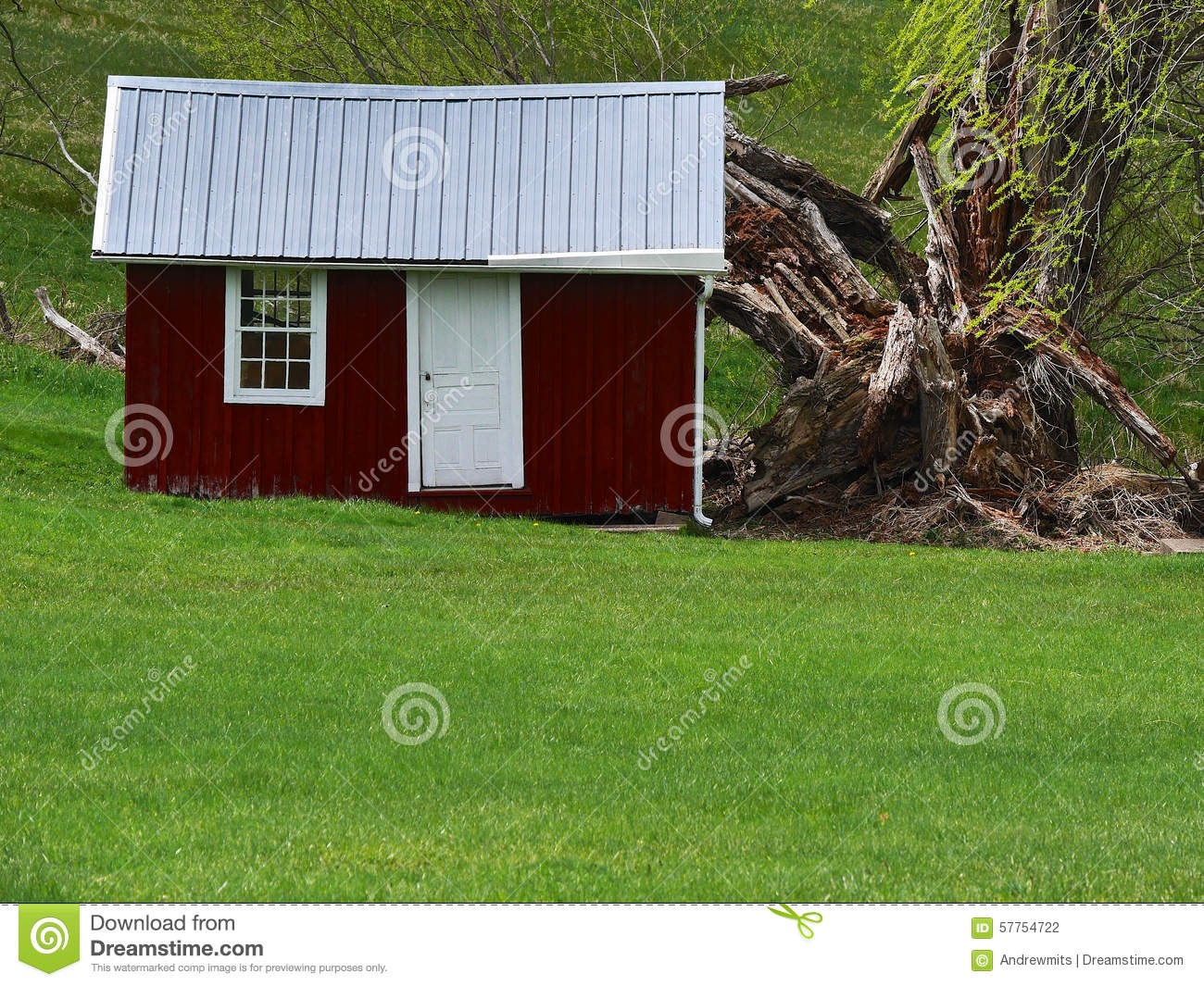 Little Red Shed With Metal Roof Stands Out As Landscape Feature At