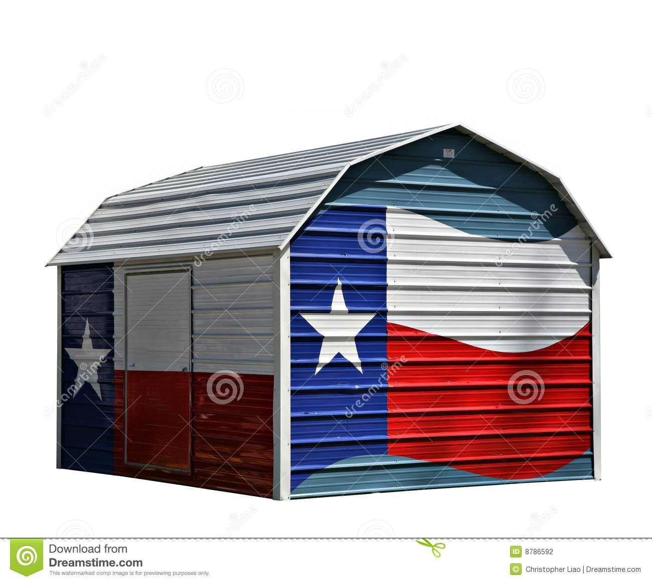 Metal Corrugated Storage Shed With Texas Lone Star Blue White And Red