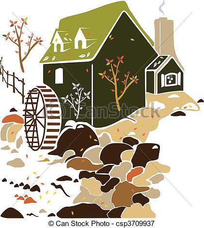 Mill   Water Mill Surrounded By Nature    Csp3709937   Search Clipart