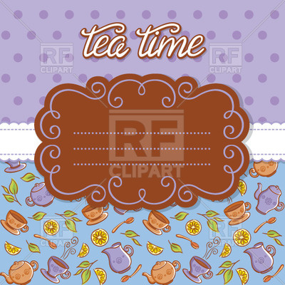 Purple Tea Party Invitation   Curly Frame On Green Background With