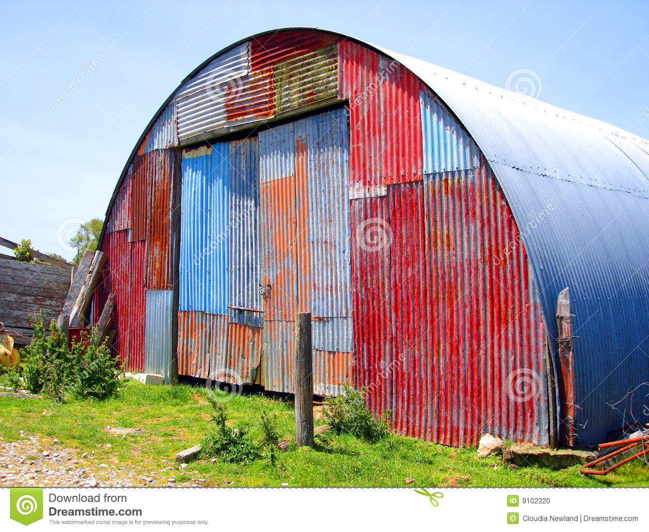 Round Metal Shed With Mismatched Paint Stock Photo   Image  9102320