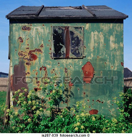 Stock Photograph   Dilapidated Metal Shed  Fotosearch   Search Stock