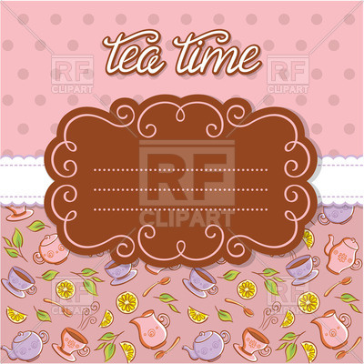 Tea Party Invitation   Curly Frame On Tableware Background 30004