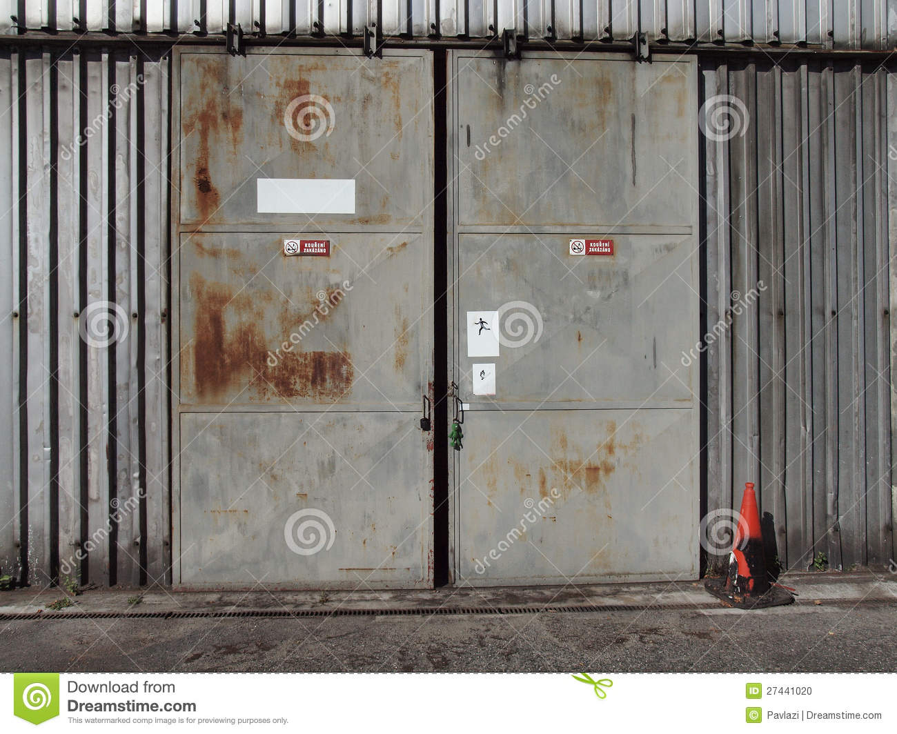 The Metal Door Of An Old Shed Stock Photo   Image  27441020
