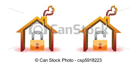 Vector   Safe And Unsafe House   Stock Illustration Royalty Free