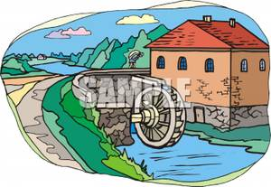 Water Mill Wheel Clipart Bridge With A Water Wheel