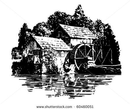 Water Mill Wheel Clipart Grist Mill Retro Clip Art
