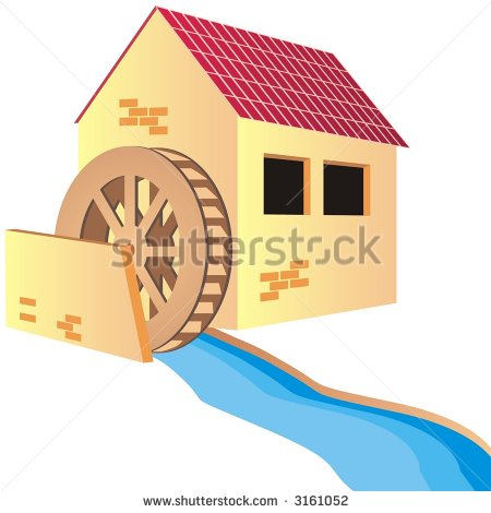 Water Mill Wheel Clipart House With Mill   Stock Vector