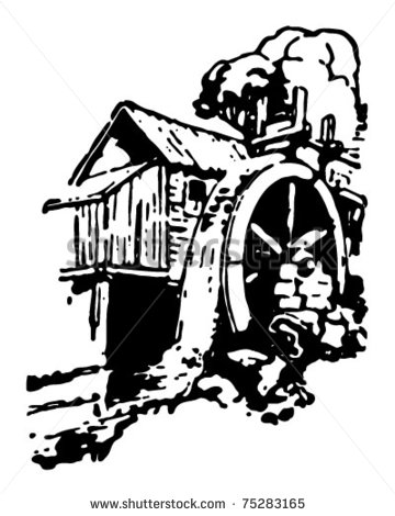 Water Mill Wheel Clipart Old Mill   Retro Ad Art
