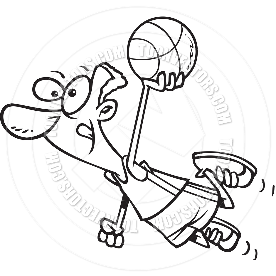Cartoon Basketball Player Dunk  Black And White Line Art  By Ron