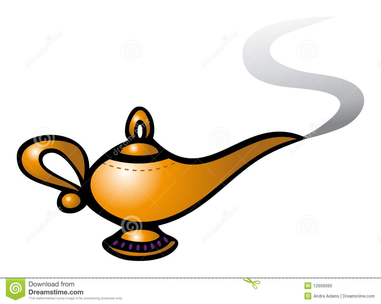 Cartoon Vector Illustration Of A Magic Genie Lamp