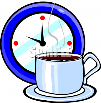 Description  Food Clipart Picture Of A Cup Of Coffee And A Clock  This