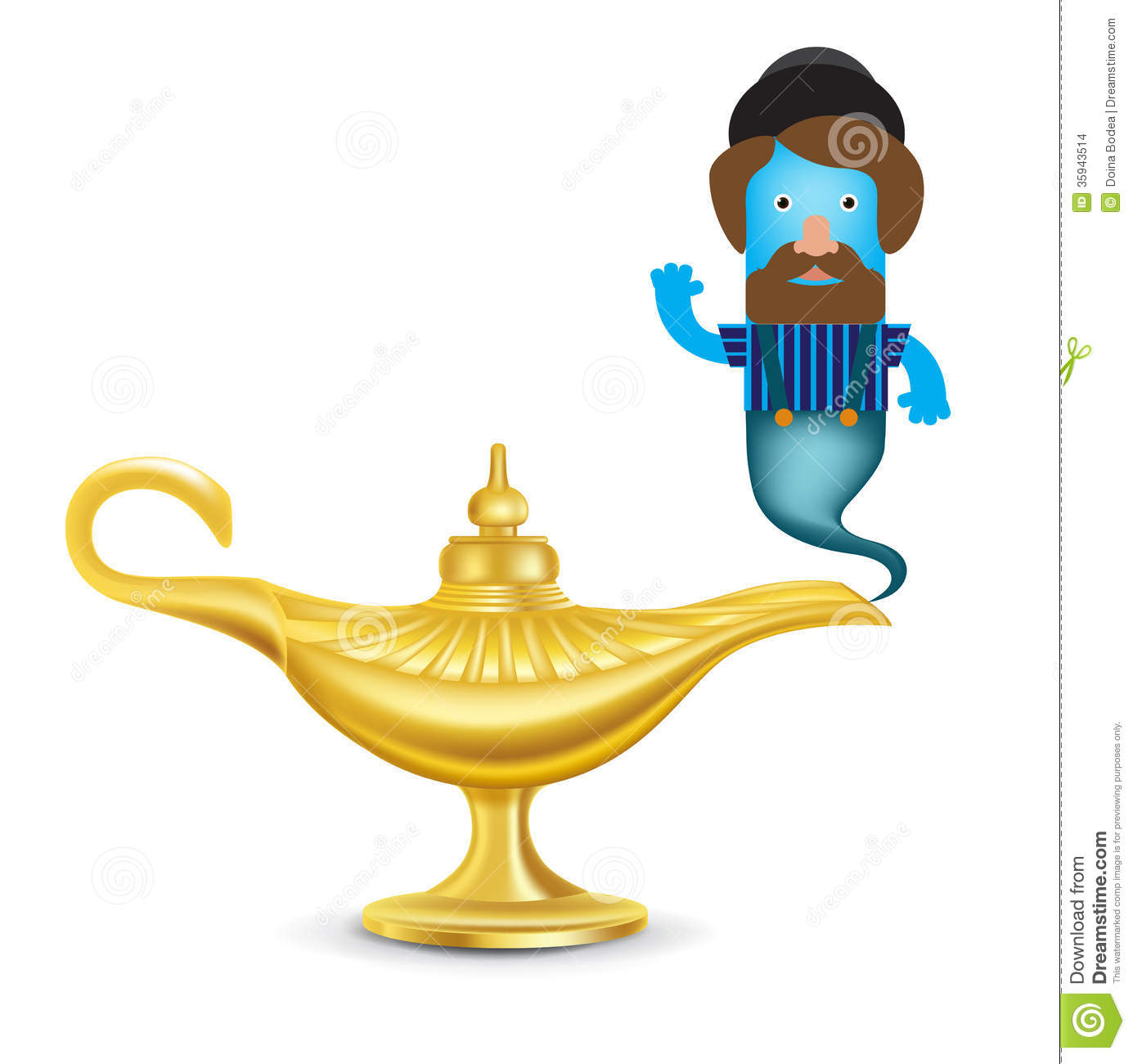 Golden Magic Lamp With Genie Isolated On White Stock Images   Image