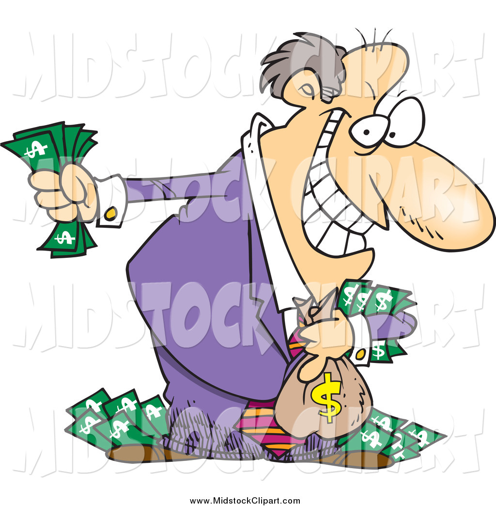 Larger Preview  Clip Art Of A Cartoon Greedy Rich White Businessman