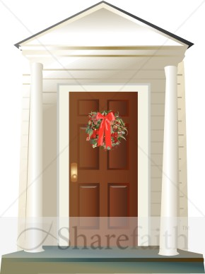 On Porch With Columns   Traditional Christmas Decoration Clipart