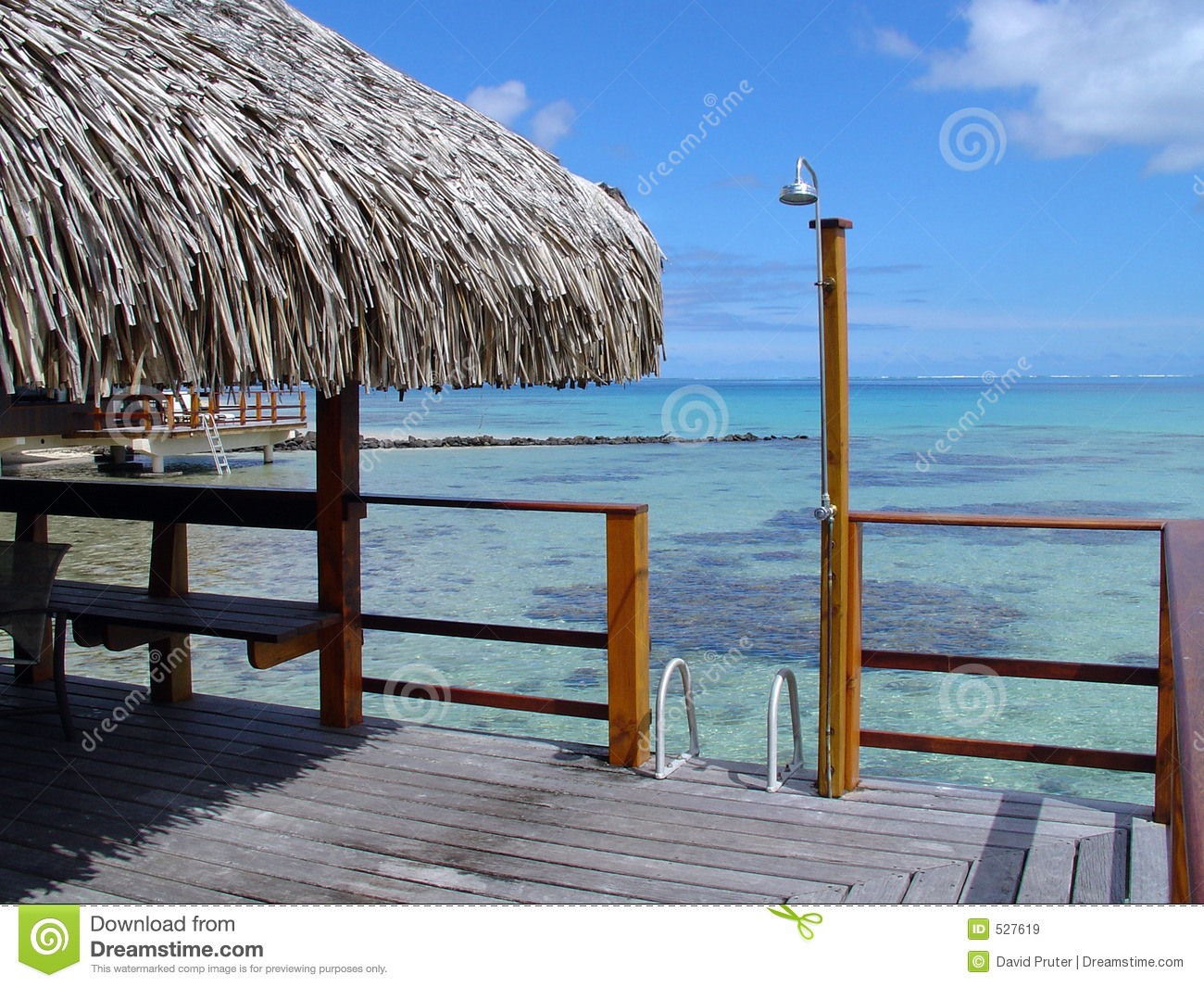 Over Water Bungalow Outside Deck With Outdoor Shower A Ladder Into