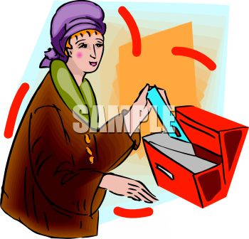 Rich Woman Getting Her Mail   Royalty Free Clipart Picture