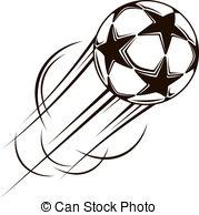 Soccer Ball With Stars Flying Through The Air Clip Art Vector