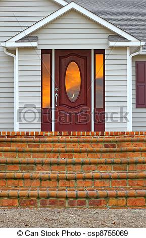 Stock Illustration Of A Staircase Leading To A Porch And A Back Door