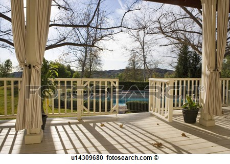 Stock Photography Of Traditional Back Porch Overlooking Pool U14309680
