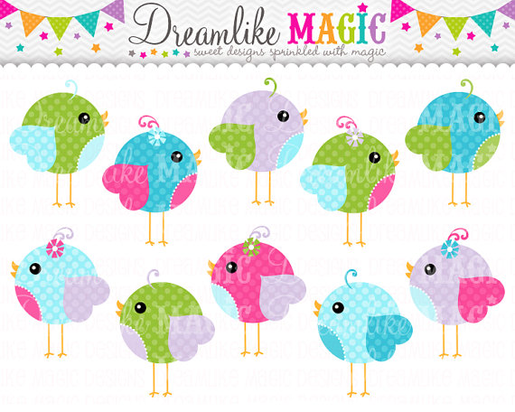 Sweet Tweet Polkadot Birds  Clipart For Personal Or Commercial Use By