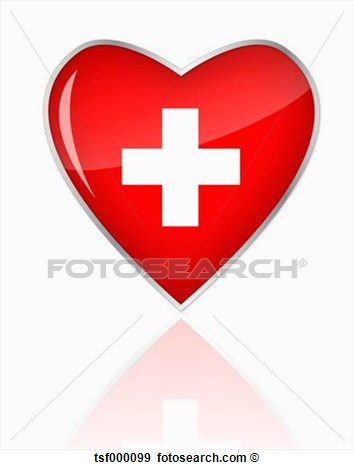 Swiss Flag In Heart Shape On White Background View Large Clip Art