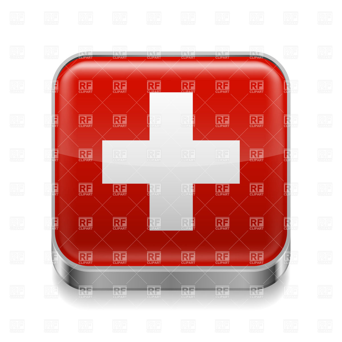 Swiss Flag On Metal Square Icon Download Royalty Free Vector Clipart