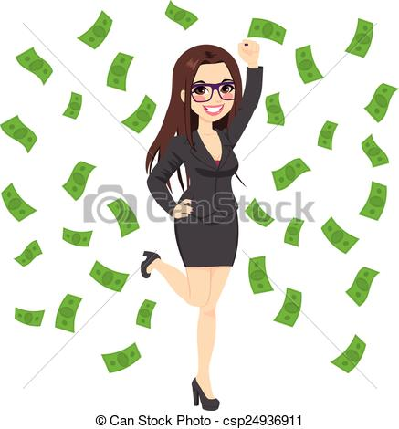 Vector Clip Art Of Brunette Rich Successful Business Woman   Beautiful