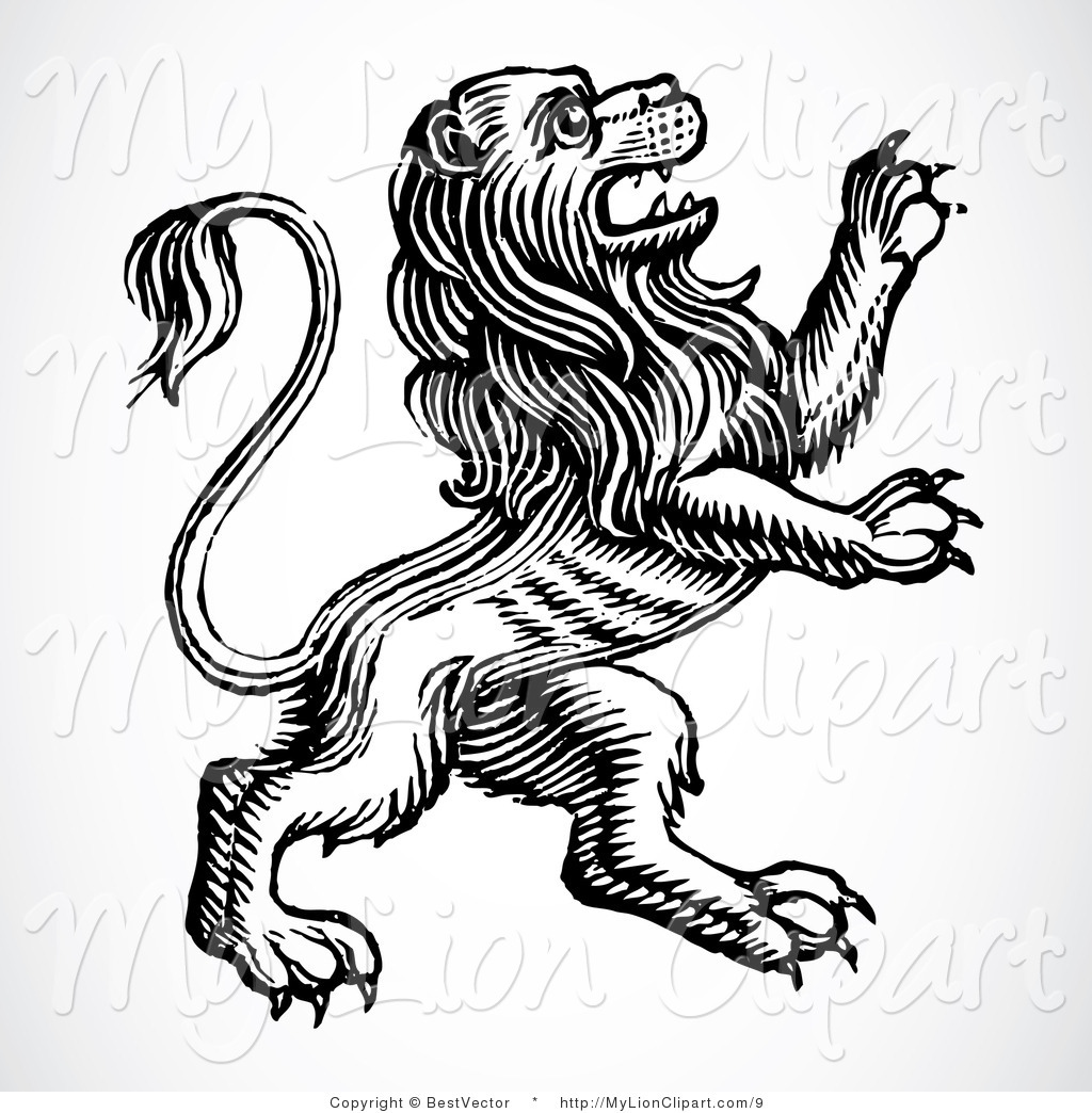 Vector Lion Clipart Of A Heraldic Lion Rearing Up By Bestvector    9