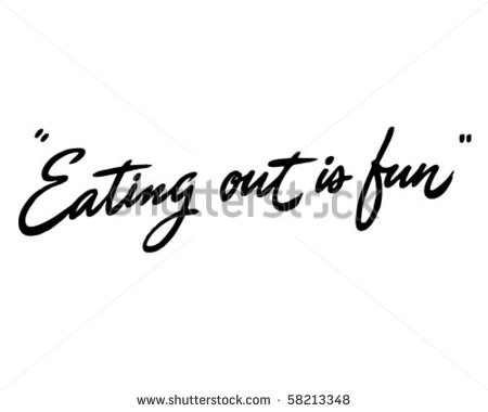 Eating Out Is Fun   Ad Header   Retro Clip Art   Stock Vector
