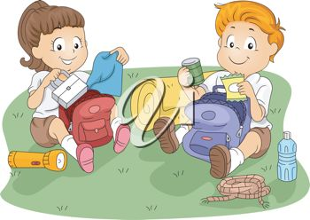 Eating Their Lunches Out Of Their Backpacks   Royalty Free Clipart