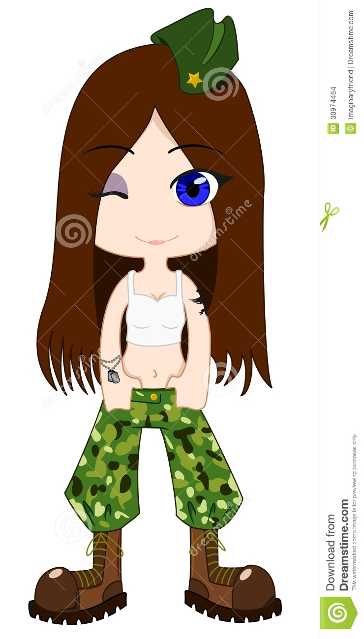 Girl Pants Clipart Army Girl