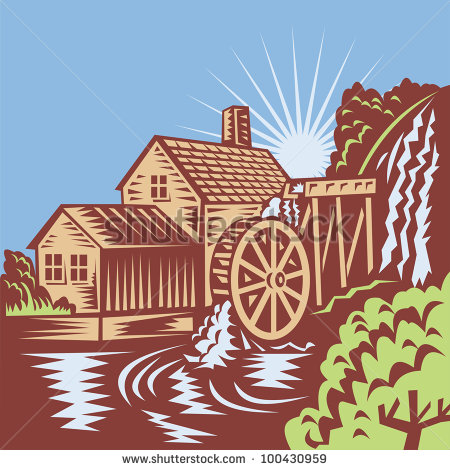 Illustration Of A Water Wheel Mill House Watermill With Flowing River