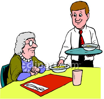 Old Woman Eating In A Restaurant Clipart   Royalty Free Clipart Image