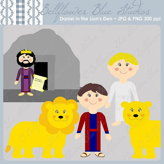 Daniel In The Lion S Den Digital Clipart  Full Color Version