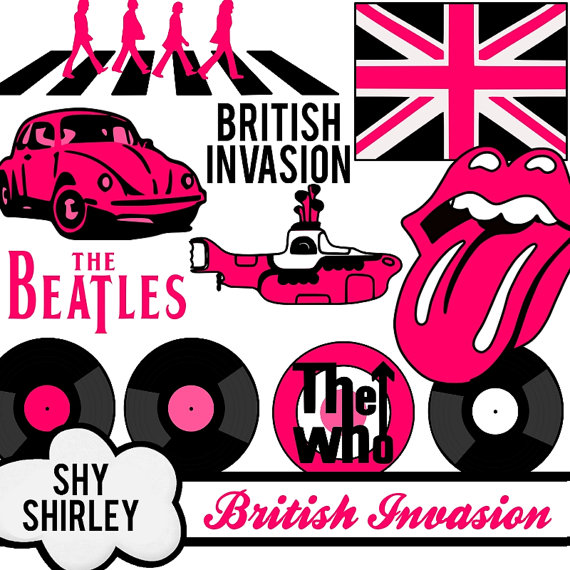 Items Similar To Pink British Invasion 60s Clipart Image Collage Set