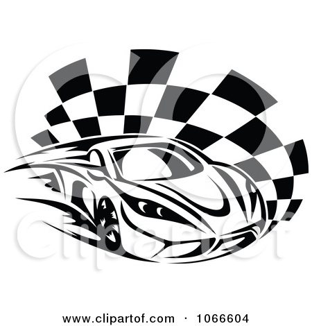 Clipart Black And White Race Car And Checkered Flag 1   Royalty Free