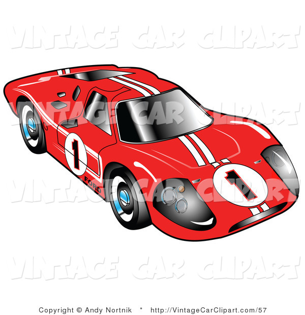 Clipart Of Front Of The Red 1967 Ford Mark Iv Gt40 Racing Car With