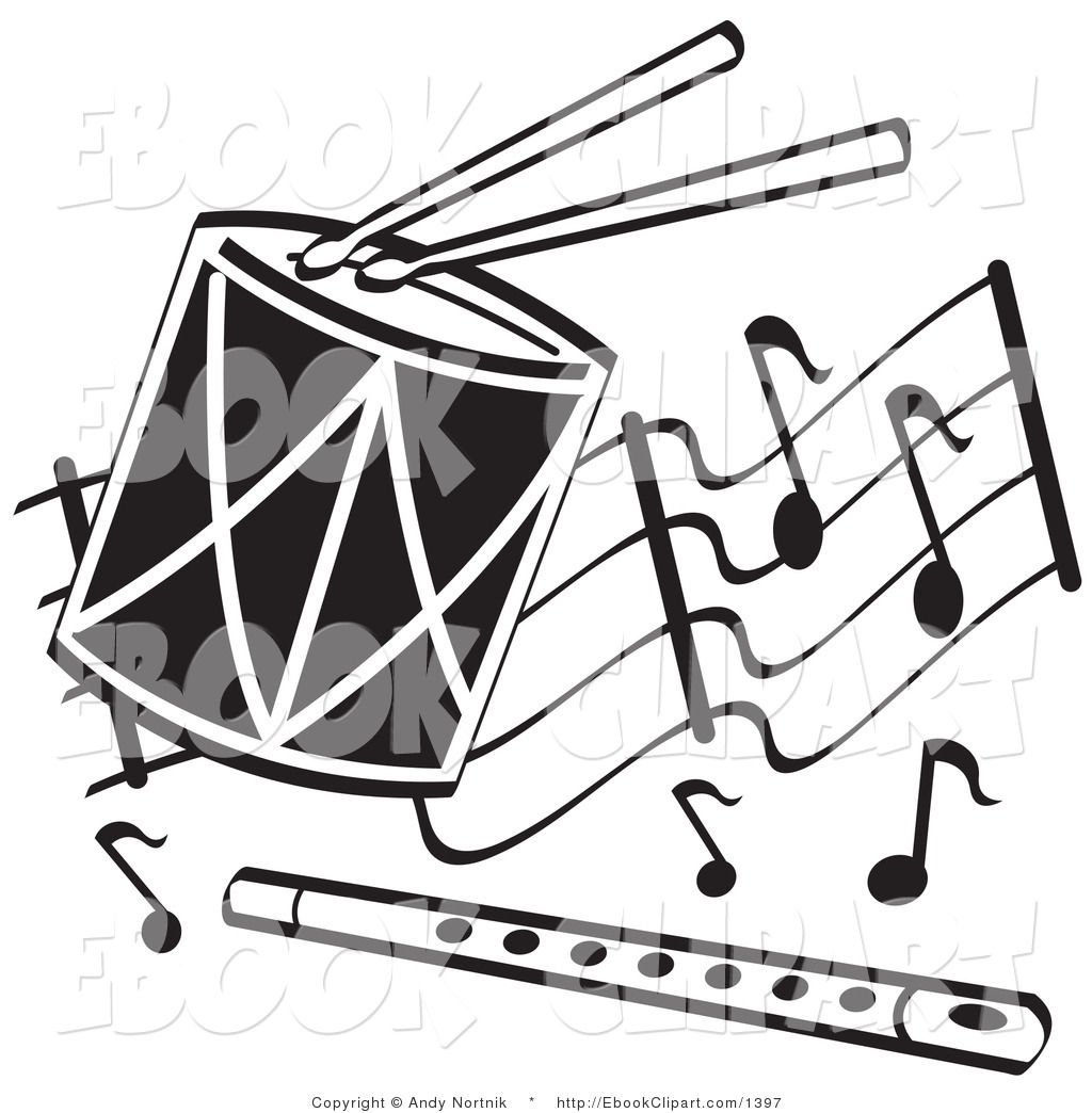 Drum Clipart Black And White Flute Clipart Clip Art Of Black And White
