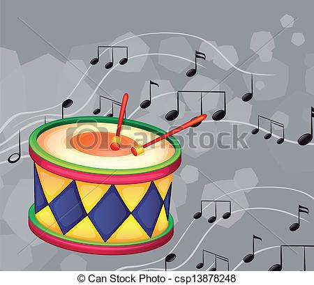 Eps Vector Of A Drum With Musical Notes   Illustration Of A Drum With
