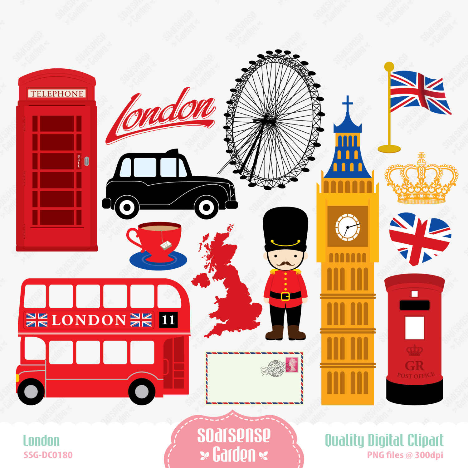 London Digital Clipart England Clipart By Ssgarden On Etsy