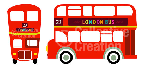 London Double Decker Red Bus Digital Clip Art Clipart Set   Personal