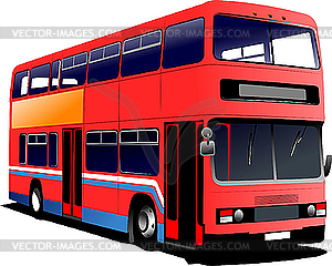 London Double Decker Red Bus    Royalty Free Vector Clipart
