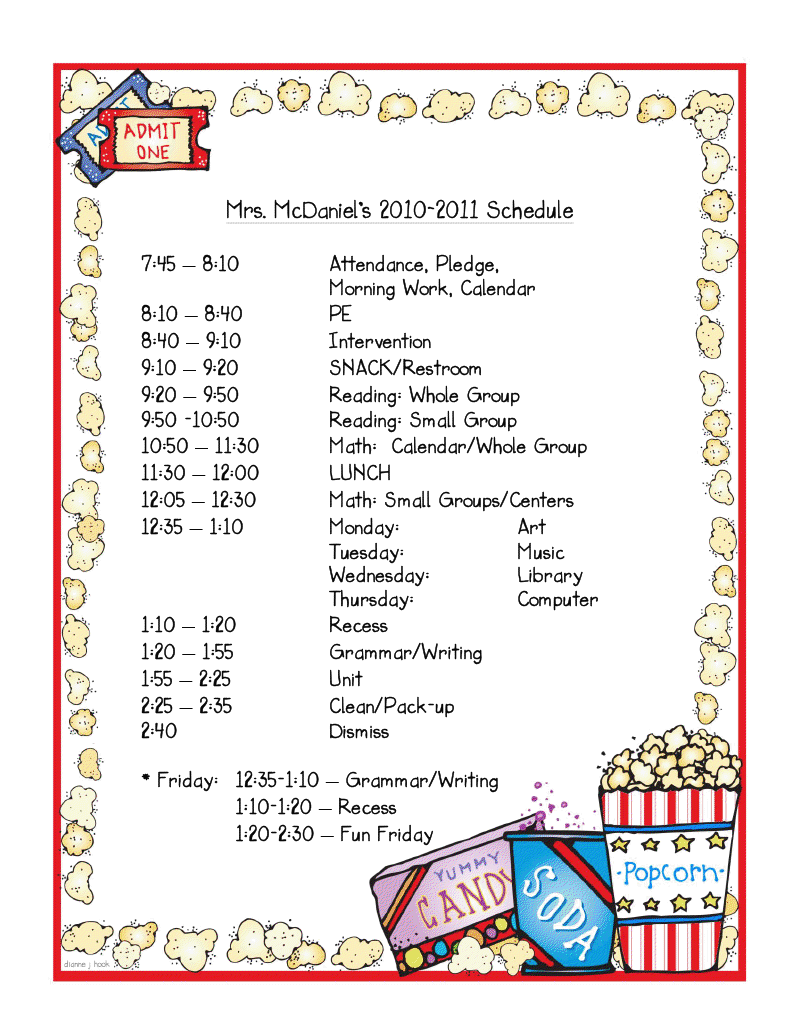 Mrs  Mcdaniel S 2nd Grade  Daily Schedule Linky Party
