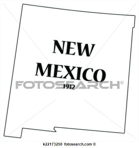 New Mexico State And Date View Large Clip Art Graphic