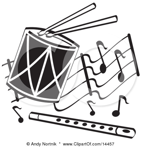 On A Drum And A Flute Over Musical Notes Clipart Illustration 1 2