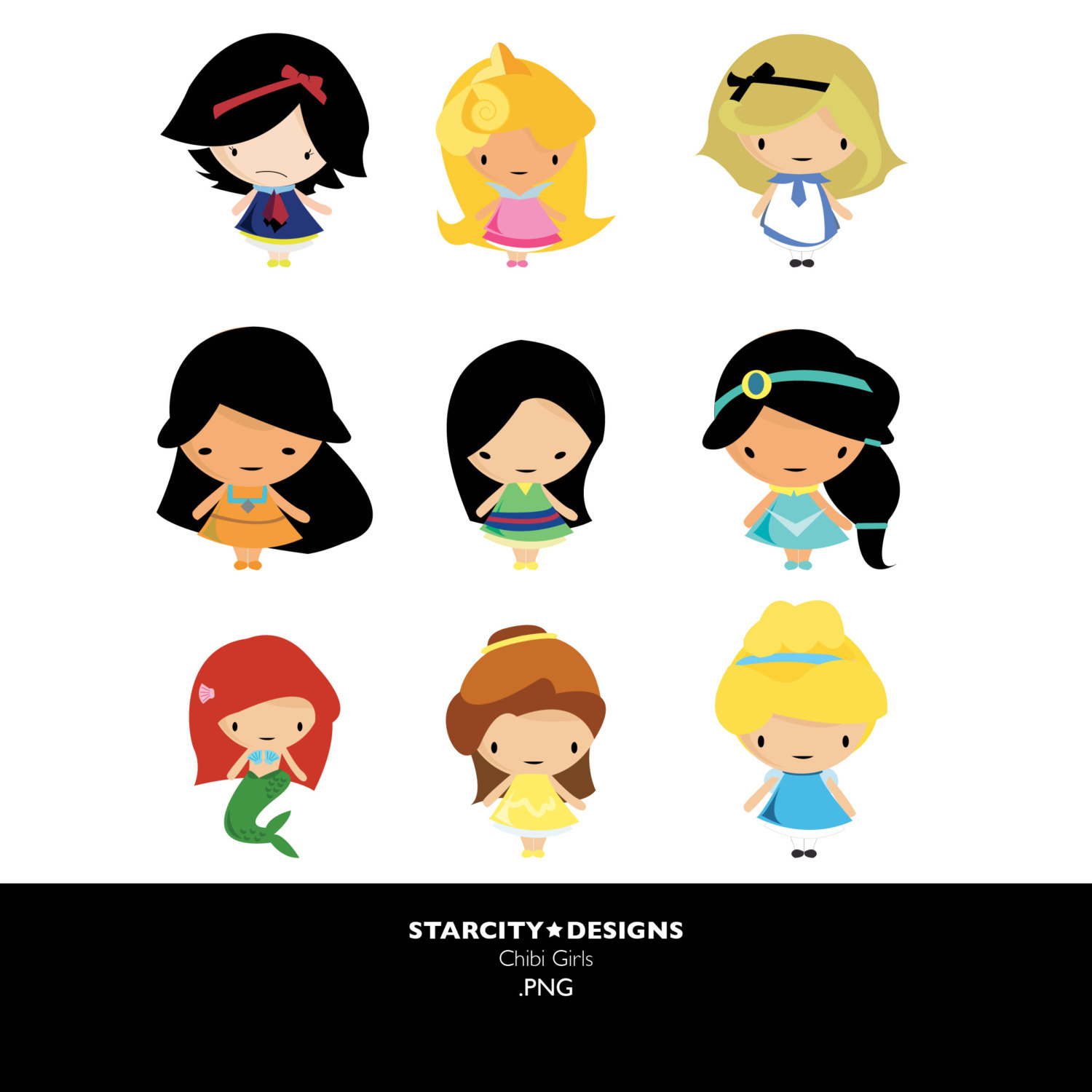 Princess Chibi Girls Clip Art Clipart Vector By Starcitydesigns