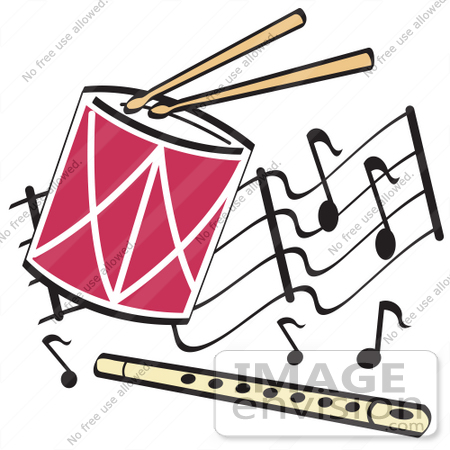 Royalty Free Cartoon Clip Art Of A Drumsticks Playing A Drum And A